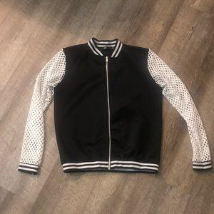 Missguided | US 4 Black & White Mesh Track Jacket